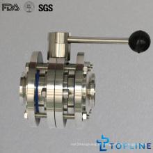 Válvula de borboleta de aço inoxidável sanitária com alça de tração