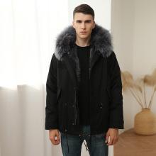 Parka de lujo para hombre con abrigos de piel en el interior para la venta