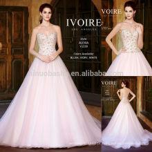 Pink Sweetheart Backless Long Tail Vestido de casamento vestido de noiva 2014 Kitty Chen Charme vestido de noiva com contas feitas sob medida NB0610