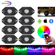 RGB LED Rock Lights with Bluetooth Controller, Timing Function, Music Mode 4 Pods/6pods/8pods/12pods Multi Color LED Light Kit