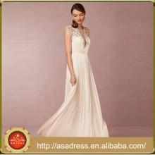 BHD10 Sexy Deep V Neck Sheer Back Hochzeitskleider Cap Sleeve Perlen Brautkleid Vestidos Longo