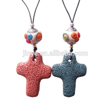 Collar sundysh cross, collar de piedra curación de bohemia larga hecha a mano de la cruz