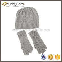 cable de cachemir guante de punto bufanda y gorro conjunto