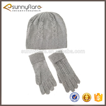 cashmere cable knit scarf glove and beanie hat set