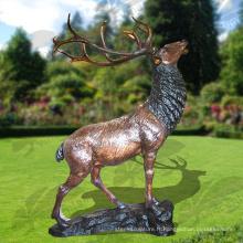 Modèles populaires Taille de la vie Bronze Statue de cerfs