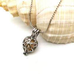 Silver Cage Hollow Heart Charm Pendant Necklace