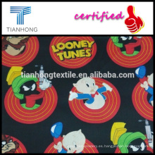 looney tunes colección historieta carácter impresión satén ligera sensación seda tela de algodón para camisón