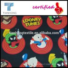 Looney tunes collection dessin animé caractère impression satin léger sensation soie tissu de coton pour chemise de nuit