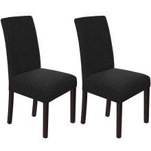 Juego de fundas para sillas de comedor elásticas de sarga negra para interiores