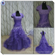PP2557 Organza Real Sample Mermaid Tiered Purple High Back Prom Dress