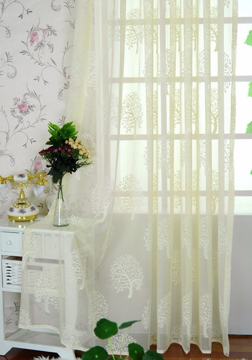 Household Money Tree Plant Pattern Curtain C