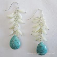 Coquille d'eau douce boucle d'oreille, boucle d'oreille Turquoise (EP97)