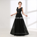 2018 new arrival black color floor length chiffon evening gown dress with sequins