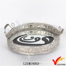 Bandejas de jóias antigas decorativas de metal redondo