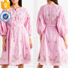 Manga corta de tres cuartos de manga larga de algodón bordado Vestido de verano de fabricación al por mayor de prendas de vestir de mujeres (TA0327D)