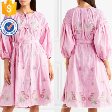 Три четверти длины рукава вышитые хлопок мини-летнее платье Производство Оптовая продажа женской одежды (TA0327D)