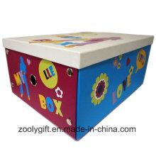 Multipurpose criança brinquedo de papel de impressão de papelão caixa de armazenamento dobrável com botão de metal e Finger Hole