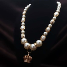 Unique Eye-catching Pumpkin Faux Pearl Pendant Necklace