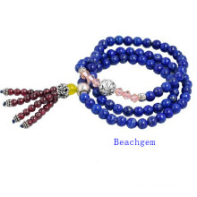 Natural Lapis Beads Bracelet with Silver Charm (BRG0031)