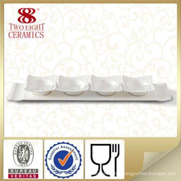 Japonês branco longo sushi de cerâmica prato de molho de soja Guangzhou fábrica