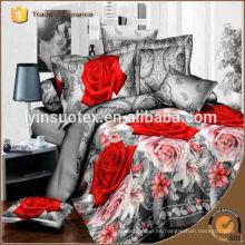 Suntuoso rosa 3D conjunto de ropa de cama impreso