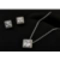 Italienischen Rhodium überzogenen quadratischen Zirkon Schmuck Satz perfekte Zirkon Design Halskette und Ohrring Schmuck Set