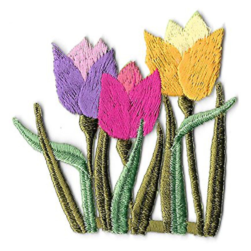 Tulips Spring Garden Embroidered