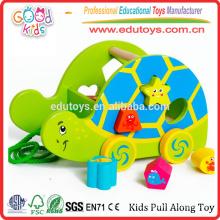Baby Wooden Tortoise Shape Sorter Inteligência Trailer Kids Pull Along Toy