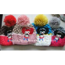 Kid handgefertigte gestrickte Hüte mit Pompon