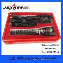 JEXREE cree xm-l U2 LED super brillant équipement de plongée caché lumière de plongée