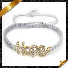 Pulsera de la esperanza de la joyería de moda cordón hecho a mano pulseras de ventas (fb069)