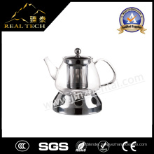 High Quality Borosilicate Clear Glass Teapot with Warmer