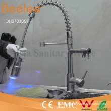 Brushed Nickle Two Heads LED Pull Down Kitchen Spring Sink Faucet