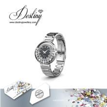 Schicksal Schmuck Kristall von Swarovski Classic Leder Armbanduhr