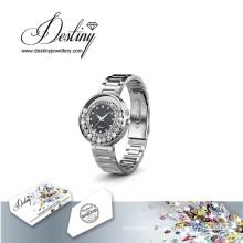 Destin bijoux cristal de Swarovski classique en cuir montre