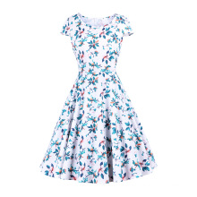 Waist Knee-LengthColorful Large Printed Fabric Retro Dress