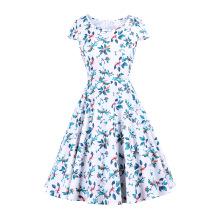 Талия: до колен, красочное платье в стиле ретро с большим принтом
