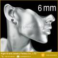 Brincos pretos de aço inoxidável da orelha do zircão dos brincos de Shamballa de 4mm 316L