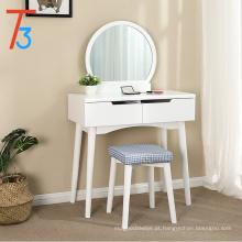 Conjunto de mesa de vaidade com espelho redondo 2 grande deslizando gavetas maquiagem toucador com almofada de algodão branco