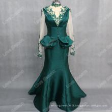 RP0133 Esmeralda de colarinho alto laço appliqued sereia manga sheer vestido feminino vestido de noite vestido de baile de finalidade longa real 2015
