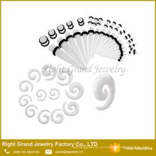 Espiral por atacado da orelha da espiral acrílica, brinco piercing da jóia