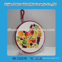 Hanging ceramic pot holder with fruit painting,decorative ceramic pot mat