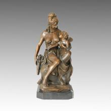 Figure classique Bronze Sculpture Mère-fille Décoration intérieure Statue en laiton TPE-057