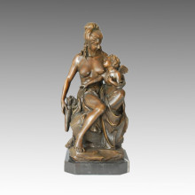 Classical Figure Bronze Sculpture Mother-Daughter Home Decor Brass Statue TPE-057