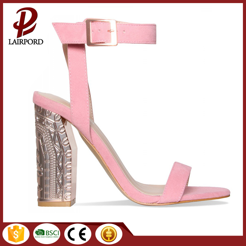 Gold plating chunky heels suede sandals factory