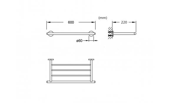 Single-layer towel bar for bathroom accessories