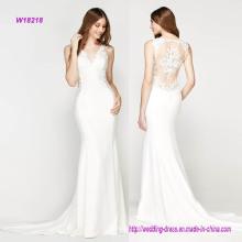 Vestido de casamento de sereia de laço delicado moderno