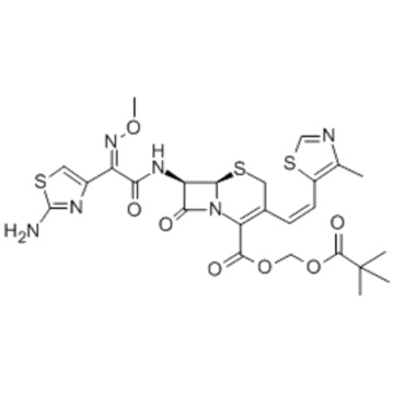 5-Thia-1-azabicyclo[4.2.0]oct-2-ene-2-carboxylicacid,7-[[(2Z)-2-(2-amino-4-thiazolyl)-2-(methoxyimino)acetyl]amino]-3-[(1Z)-2-(4-methyl-5-thiazolyl)ethenyl]-8-oxo-,( 57263703,2,2-dimethyl-1-oxopropoxy)methyl ester,( 57263704,6R,7R)- CAS 117467-28-4