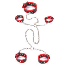 3PCS / Set erwachsene Sm Set Sex Handschellen Knöchel Cuff Neckring Sex Spielzeug Bdsm Bandage Metall Kette