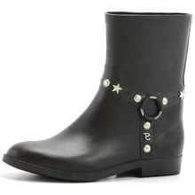 Black Women Rubber Rain Boots With Rivet